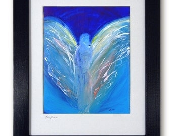 Modern Abstract Art - Vision of Angels - Mat print 11x14 Angel Grace of original painting by artist BenWill
