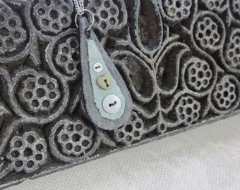Grey Button Teardrop Fabric Pendant Necklace