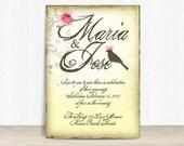 Vintage Wedding Invitation  Template  Wedding Invitation Printable  Wedding Invitation Suite  Bird Wedding  No 28