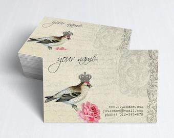 Business Cards  Custom Business Cards  Personalized Business Cards  Business Card Template  Vintage Business Cards  Bird Business Card V9