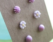 Post Earrings - 3 pairs - Plastic - Surgical Steel - Purple Mix