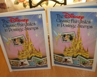 2 The Disney Classic Fairytales In Postage Stamps Albums Books With 16 Stamps