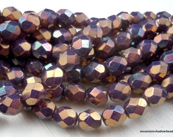 6mm Czech Beads -  Milky Amethyst Bronze Picasso Firepolished Faceted 25 pcs (G - 528)