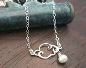 Cloud and Freshwater Sterling Silver Pearl Necklace, Sterling Silver Charm Necklace