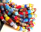 African Christmas Beads, 2mm, 8mm, Small Colorful African Glass Beads, FULL Strand, 32 Inch, Tribal Glass Seed Beads HO19A