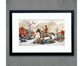 Night Scout Art Print Cowboy on Horse in Desert Landscape