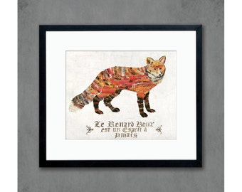 Red Fox with Vintage French Text Archival Print