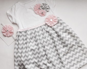 Boutique girls DRESS  in grey chevron and pink polka dots.. girls clothing..shabby chic