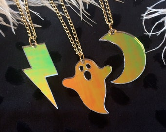 Radiant Moon, Ghost, or Lightning Bolt Simple Charm Necklace from Laser Cut Acrylic