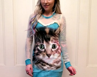 Kitty Cat Face Long Sleeve Sheer Top Dress MADE TO ORDER