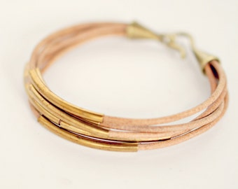 Natural Leather Cuff Tube Bracelet