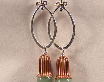 Amazonite copper dangle earrings sterling Silver, gold-filled