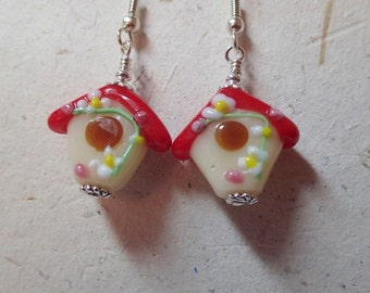 Glass Bead Birdhouse Bird House Earrings with an Opaque Red  Roof