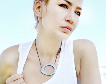 Crop Circle Necklace  - A Big Badass Reversible Necklace in Sterling Silver by Queens Metal