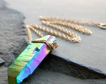 gold crystal quartz necklace, quartz crystal necklace, blue quartz necklace
