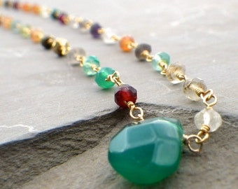 rosary stone choker, rosary chain, rosary choker, choker necklace in gold, mixed gemstone rosary chain necklace