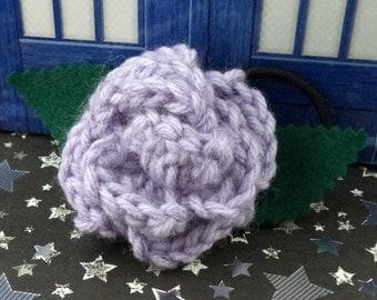 Jo Grant - Crocheted Rose Ponytail Holder or Bracelet - Lavender Fuzzy (SWG-HP-DWJG01)