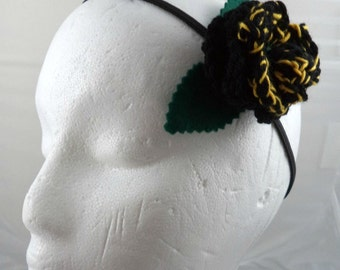Ace - Crocheted Rose Headband - Black and Yellow (SWG-HH-DWAC01)