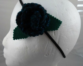 Crocheted Rose Headband - Black and Dark Aqua Sparkly Rose (SWG-HH-ZZ07)