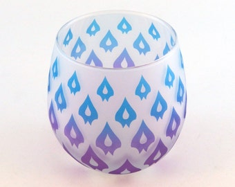 Dragon Petals - Stemless Wine Glass - Frosted Style - Etched and Painted Glassware - Custom Made to Order