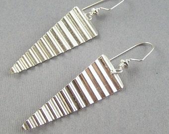 Sterling Silver Triangle Washboard Earrings