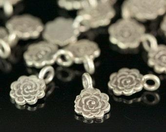 4KH-048 thai karen hill tribe handmade silver 8 Tracery flower disc charm