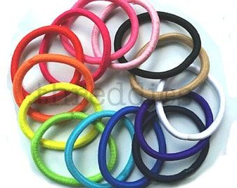 30 thick elastic ponytail holders - pick your colors // no metal // snag free