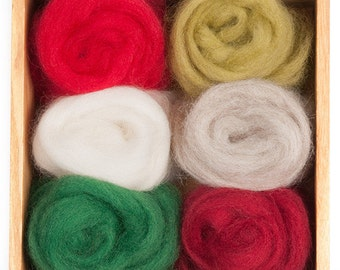 Holiday Wool Roving Color Pack for Felting - Corriedale