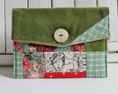 Apple green pouch, Bouche cousue, screenprint, ecofriendly, girl, case, wallet, floral,plaid, mademoiselle, dots, feminine ,teacher's gift