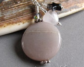 Moonstone Rose Quartz Hematite Motherhood Charm Zipper Pull EHAG