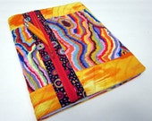 Refillable Fabric Covered Composition Notebook Cover w/ Zipper Pocket Summer Bright