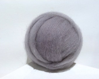 Silver Grey wool roving, Felting wool, begginer Spinning Fiber, grey roving gray light pewter ash smoke, hand dyed