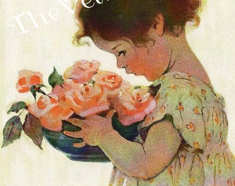 Canvas Paper Print*Jessie Wilcox Smith little girl pink roses*Stunning*8x10 inches*Free shipping in the USA