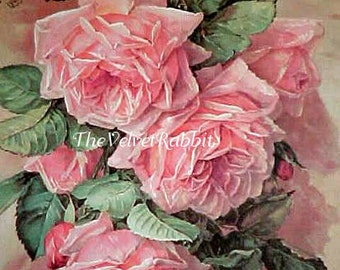 Canvas Paper Print*Paul de Longpre more pink roses*Stunning*8x10 inches*Free shipping in the USA