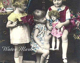Digital download instant*Digita scan*Three little girls playing dolls*OMG*Collage,sewing.frame,digital scan,tags,cards