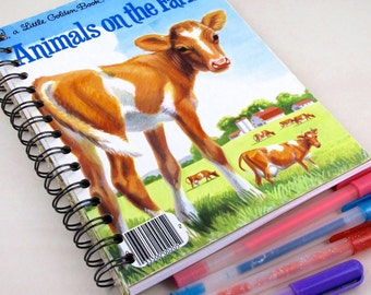Animals on the Farm Upcycled Blank Journal