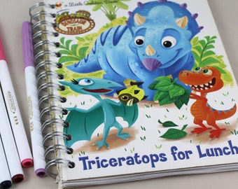 Triceratops for Lunch Upcycled Lined Journal