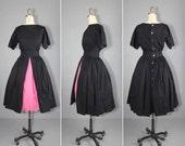 vintage dress / pop color / full skirt / CHLOE cotton dress