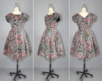 1950s dress / chiffon / floral / HEMMERSMOOR vintage dress