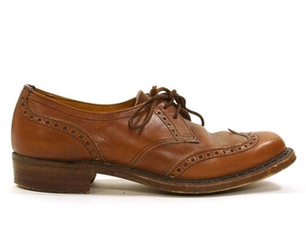 Crockett and Jones Wingtip Loafers / Swan Lace Up Oxfords in Walnut Brown / Women's Size 6 or 6.5