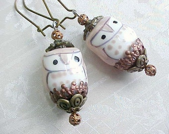 Brown Owl Earrings Woodland Earrings Forest Earrings Woodsy Horned Owl Barn Owl Porcelain Bird Whimsical Earrings Gifts for Woman Mori Girl
