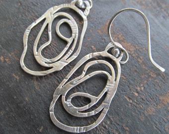 Medium Silver Hoop Earrings Funky stamped silver Swirl Scribble Hoops Long Dangling Earrings
