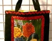 Frida Kahlo 'Floral' Black Canvas Tote Bag