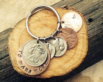 Anniversary stamped coins key chain, key ring coins, gift for her or him, hand-stamped any combination, new baby, wedding