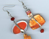 Comfort Food Earrings - grilled cheese tomato soup - knife spoon - waitress food truck cooks gift - mismatched earring Designs by Annette