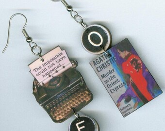 Book Earrings - Murder on the Orient Express -  literary book club readers gift - Agatha Christie Mystery - Typewriter jewelry