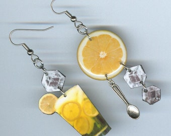 Lemonade earrings - lemon ice cubes - Waitress gift - summer beverage - mismatched earring Designs by Annette - food jewelry