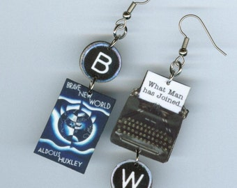 Book Cover Earrings - Brave New World quote - Typewriter key jewelry - dystopian - literary book club readers gift