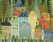 A sleepy village in Norway. 11x14 limited edition print by Matte Stephens.