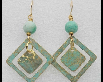 SURF - Handforged Patinated Bronze & Amazonite Statement Earrings